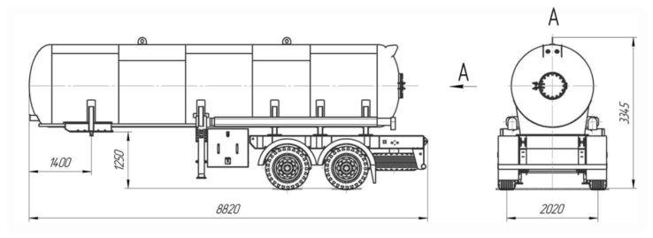 Габаритные размеры газовоза ППЦТ-20