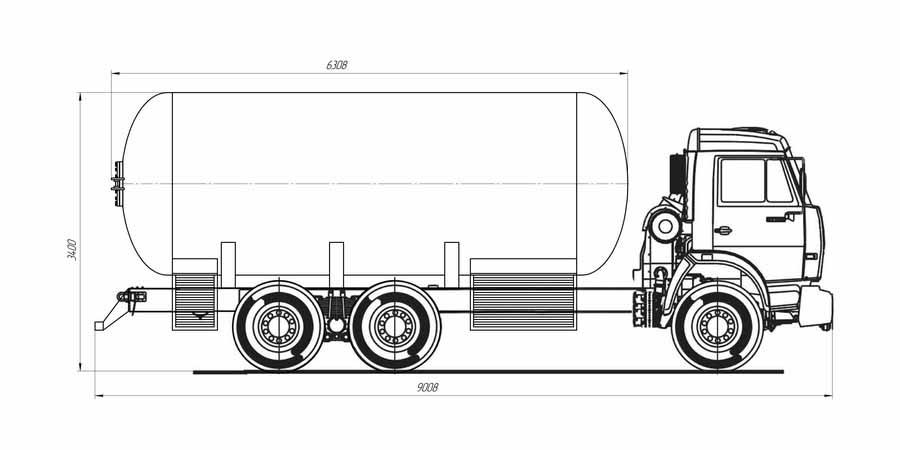 Автоцистерна для перевозки сжиженного углеводородного газа АЦТ-22 на шасси КАМАЗ