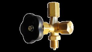Клапан игольчатый запорный со штуцером под контрольный манометр